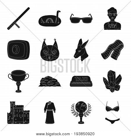 accessory, booty, clothing and other  icon in black style.animal, computer, police, profession icons in set collection.