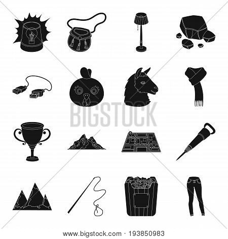 clothing, travel, landmark and other  icon in black style.animal, computer, police, mine icons in set collection.