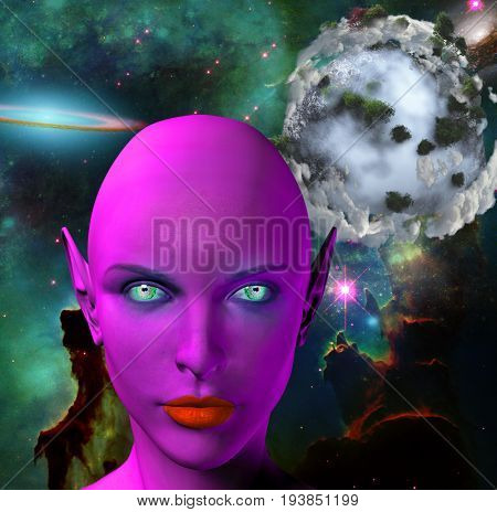 The face of female alien. Colorful universe and abstract exoplanet on a background.   3D rendering  Elements in this image were furnished by NASA