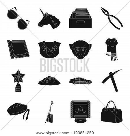accessories, bag, mine and other  icon in black style.library, animal, computer icons in set collection.