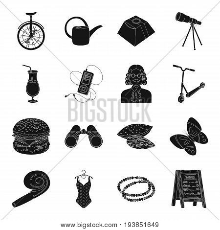 bar, food, party, Dacha and other  icon in black style.equipment, education, insect icons in set collection.