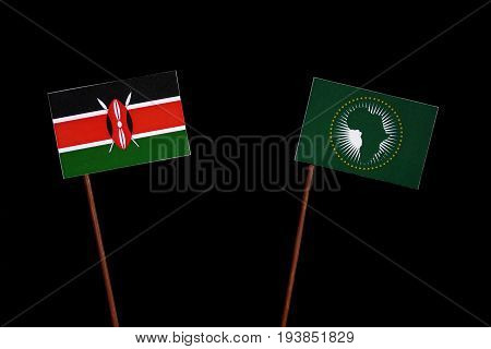 Kenyan Flag With African Union Flag Isolated On Black Background
