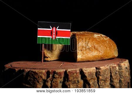 Kenyan Flag On A Stump With Bread Isolated