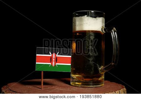 Kenyan Flag With Beer Mug Isolated On Black Background