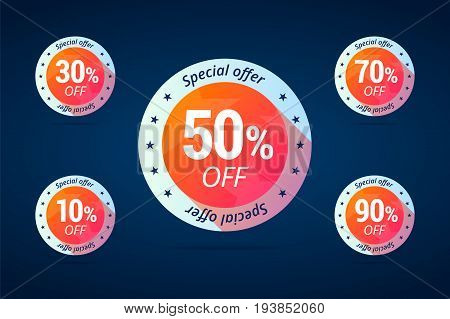 Special offer tags for shop sales. Set of discount labels from 10 to 90 percents off for shop sale campaigns. Vector isolated illustration in flat style.