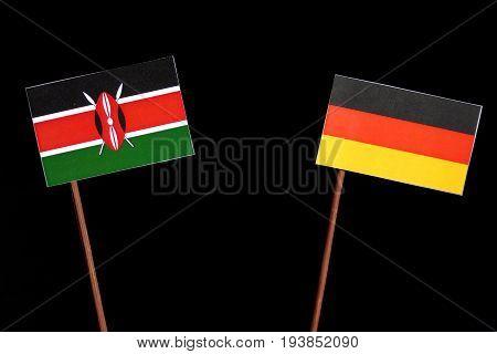 Kenyan Flag With German Flag Isolated On Black Background