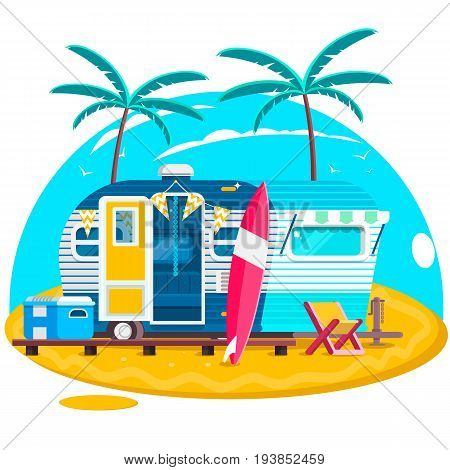 Tropical sunset. Travel Trailer Caravans. Surfing trailer with boards for surfing on a beach. Flat vector illustration