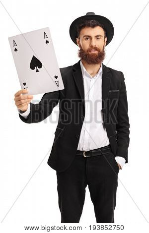 Bearded man showing an ace of spades card isolated on white background