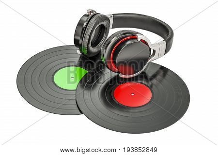 Headphones with vinyl records 3D rendering isolated on white background