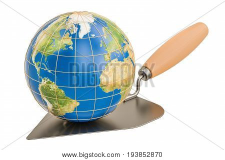 masonry trowel with Earth Globe 3D rendering isolated on white background