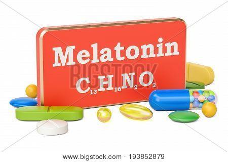 Melatonin concept 3D rendering isolated on white background