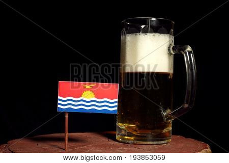Kiribati Flag With Beer Mug Isolated On Black Background