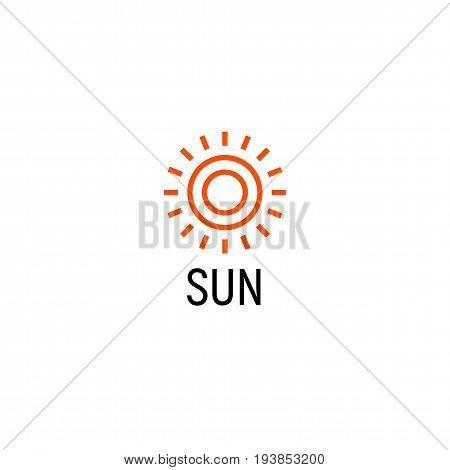 Sun orange color abstract simple icon. Outline sunny lineart shape. Summer day symbol and vector logo