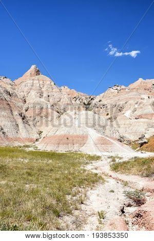 Landscape in the Badlands National Park, South Dakota.