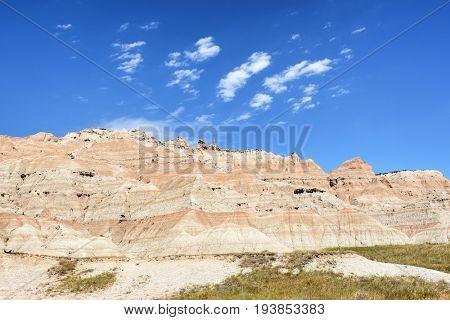 Landscape on a sunny day in the Badlands National Park, South Dakota.