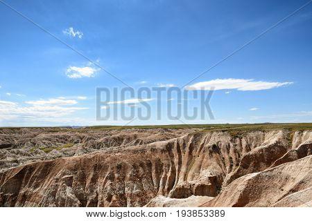 Scenic landscape in Badlands National Park, South Dakota.