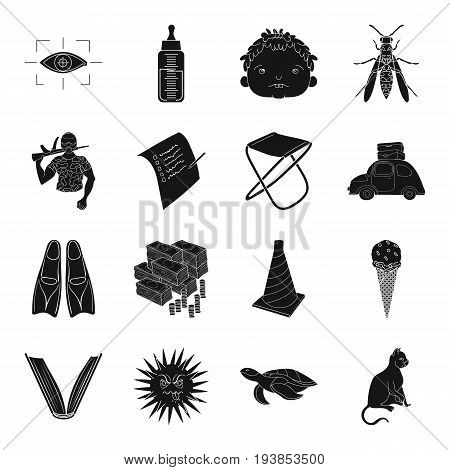 finance, education, medicine and other  icon in black style.sport, fishing, travel icons in set collection.
