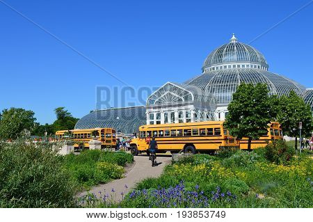 SAINT PAUL, MINNESOTA- JUNE 2017:  A class field trip to Como Zoo and Conservatory in St. Paul, MN.