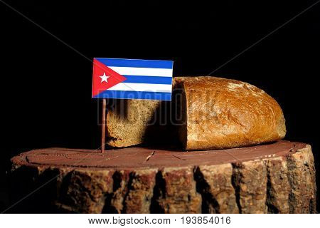 Cuban Flag On A Stump With Bread Isolated