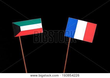 Kuwaiti Flag With French Flag Isolated On Black Background