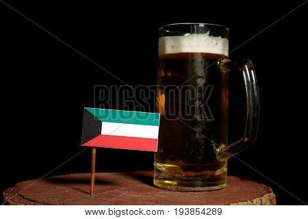 Kuwaiti Flag With Beer Mug Isolated On Black Background