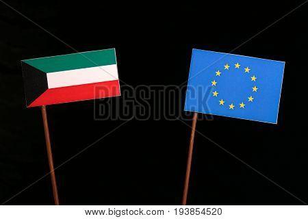 Kuwaiti Flag With European Union (eu) Flag Isolated On Black Background