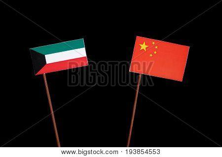 Kuwaiti Flag With Chinese Flag Isolated On Black Background