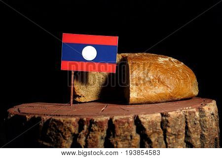 Laos Flag On A Stump With Bread Isolated
