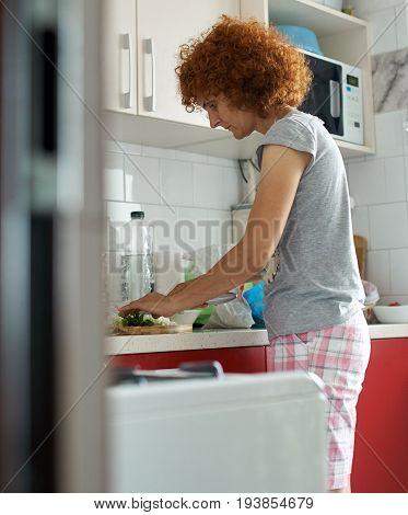Caucasian Woman In Her Kitchen