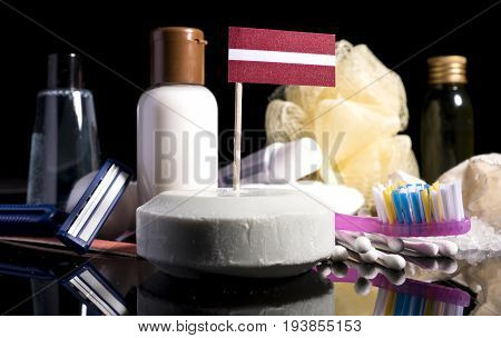 Latvian Flag In The Soap With All The Products For The People Hygiene