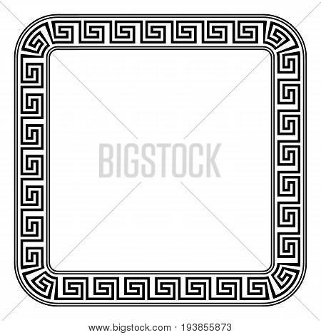 Square ornament meander on white background. Vector illustration.