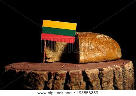 Lithuanian Flag On A Stump With Bread Isolated