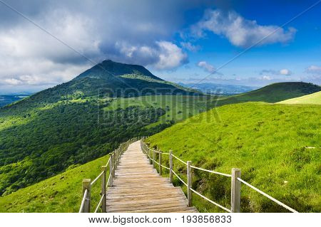 Puy De Dome Mountain And Auvergne Landscape During The Morning