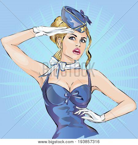 Pin Up Sexy Stewardess In Blue Uniform Saluting. Pop Art Hand Drawn Vector Illustration