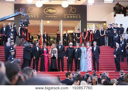 Agnes Jaoui, Jessica Chastain, Will Smith, Pedro Almodovar, Park Chan-wook, Fan Bingbing attend the Opening Gala during the 70th Cannes Film Festival at Palais on May 17,2017 in Cannes; France.