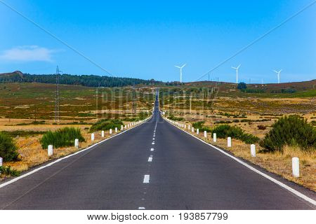 Beautiful asphalt highway crosses the island. Madeira Island in the Atlantic Ocean. Concept of exotic and ecological tourism