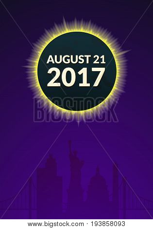 Total solar eclipse in USA creative poster, vector illustration