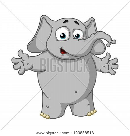 Elephant cute Nick. Big collection vector cartoon characters of elephants on an isolated background. Welcome. Throws hands. EPS 10. poster
