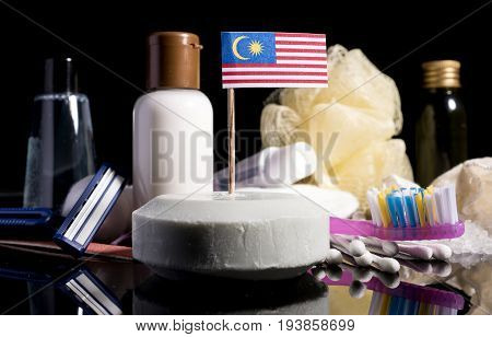 Malaysian Flag In The Soap With All The Products For The People Hygiene