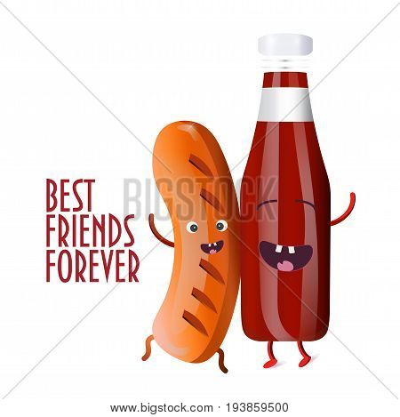 Best Friends Forever Illustration: smoked Sausage character and Red Sauce mascot are happy together. Barbecue season illustration