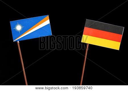 Marshall Islands Flag With German Flag Isolated On Black Background