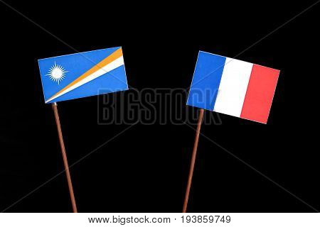 Marshall Islands Flag With French Flag Isolated On Black Background