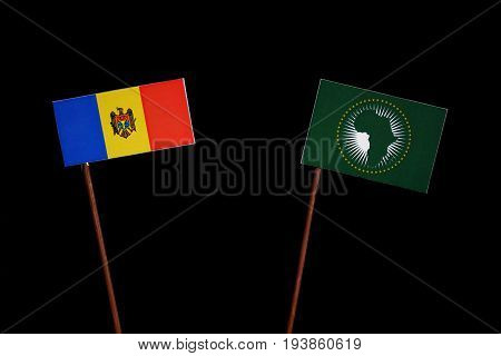 Moldovan Flag With African Union Flag Isolated On Black Background