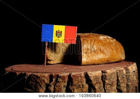 Moldovan Flag On A Stump With Bread Isolated