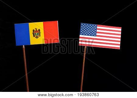 Moldovan Flag With Usa Flag Isolated On Black Background