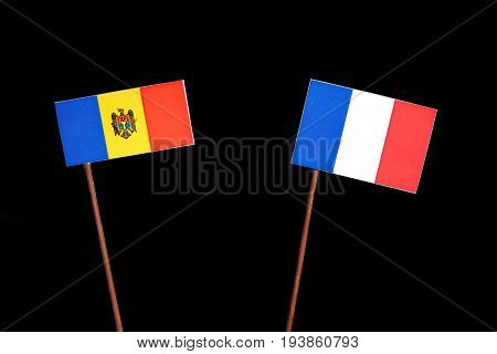 Moldovan Flag With French Flag Isolated On Black Background