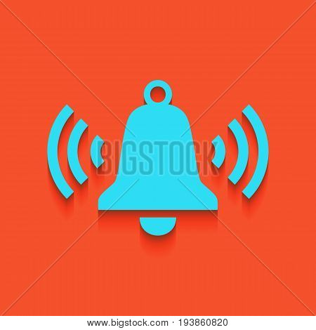 Ringing bell icon. Vector. Whitish icon on brick wall as background.
