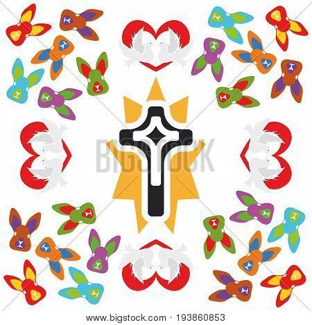Illustration Seamless Pattern Easter Cross
