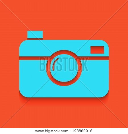 Digital photo camera sign. Vector. Whitish icon on brick wall as background.