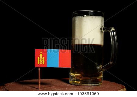 Mongolian Flag With Beer Mug Isolated On Black Background